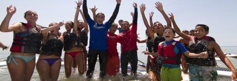 Alumna navega en windsurf en Punta del Moral , Huelva con Kanela Sailing School