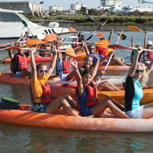 Travesía en kayak por el Guadiana, Ayamonte, Huelva. Con Kanela Sailing School