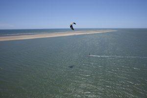 navegando en kitesurf en Isla Canela , Ayamonte